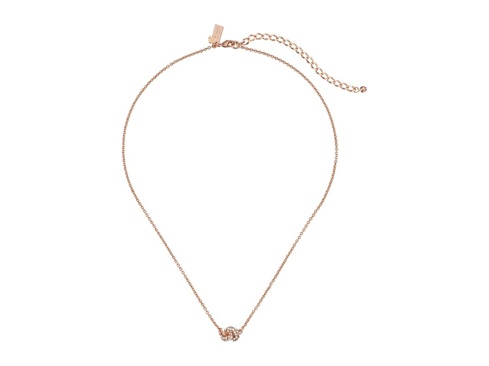 Kate Spade New York - Sailor's Knot Pave Pendant Necklace (Clear/Rose Gold) Necklace