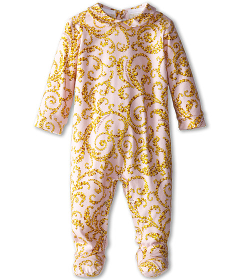 Versace Kids - L/S Footie w/ Collar and Allover Gold Print (Infant) (Pink/Gold) Girl