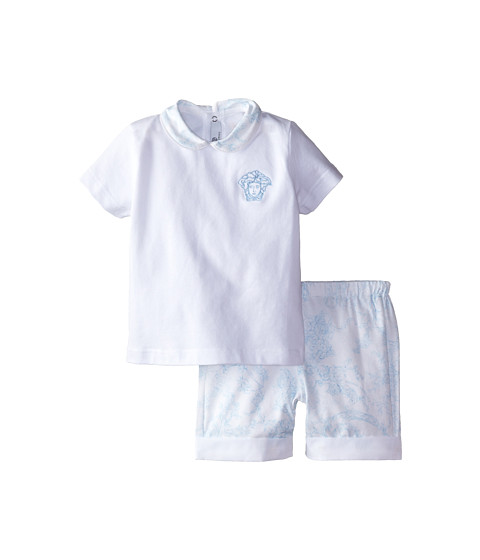 Versace Kids - Two-Piece Set with Medusa Detail and Print (Infant) (Blue White) Boy's Active Sets