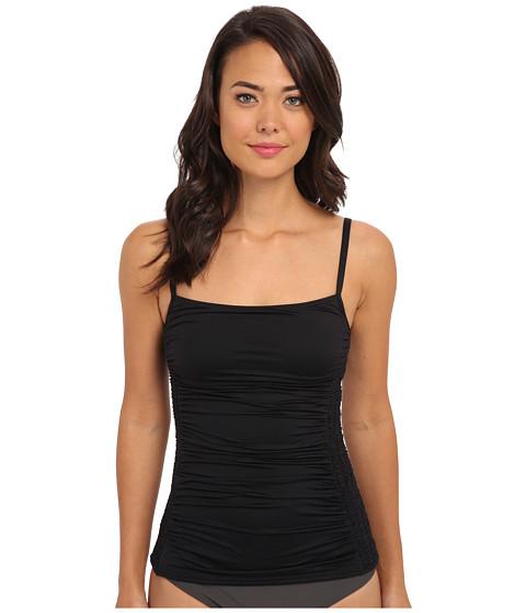 DKNY - Draped Smocked Tankini Top (Black) Women