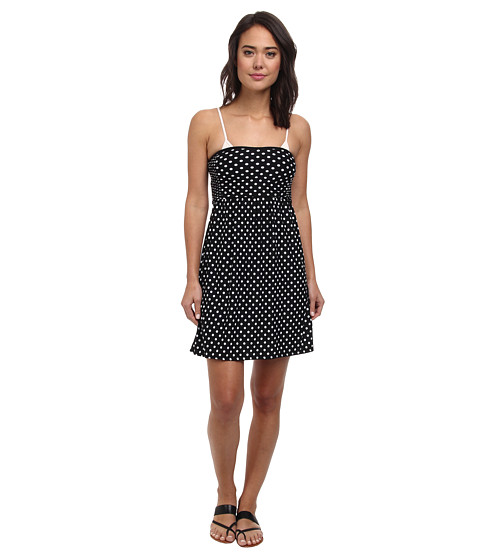 DKNY - Lets Hear It For The Dots Smocked Dress Cover-Up (Black) Women
