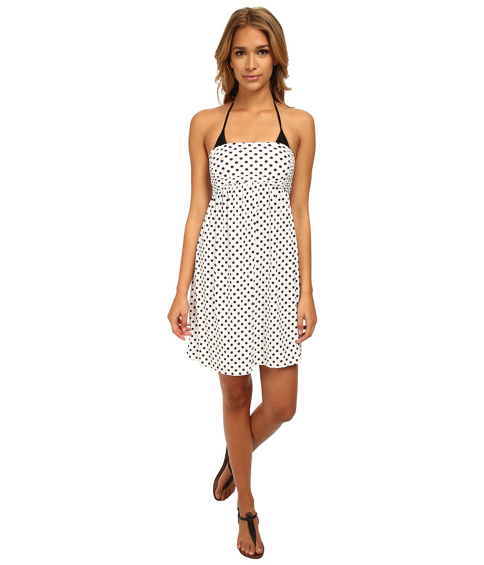 DKNY - Lets Hear It For The Dots Smocked Dress Cover-Up (White) Women