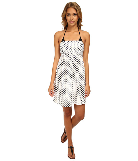 DKNY - Lets Hear It For The Dots Smocked Dress Cover-Up (White) Women's Swimwear