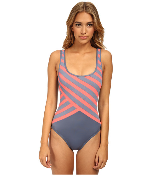 DKNY - Essential Perks Spliced Scoop Back Maillot One-Piece (Ash) Women
