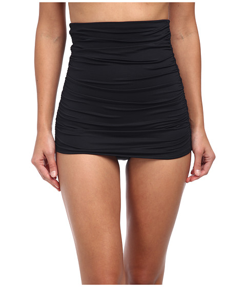 DKNY - Beyond Glam High Waisted Shirred Skirted Bottom (Black) Women's Swimwear