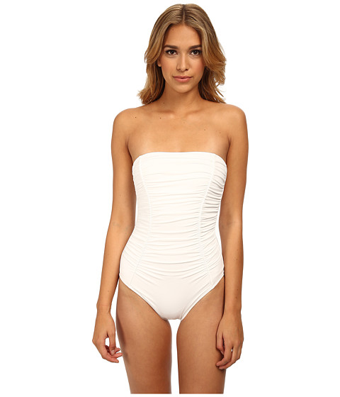 DKNY - Shirred Classic Bandeau Maillot One-Piece (White) Women's Swimsuits One Piece