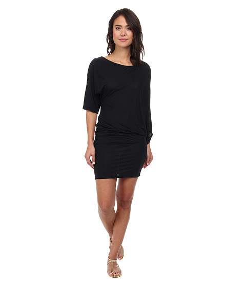 DKNY - Solid Selection Asymmetrical Cover-Up (Black) Women