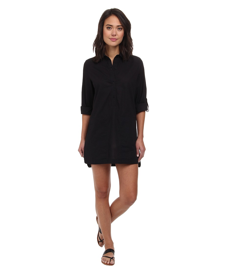 DKNY - Cover Ring Solids Shirt Cover-Up (Black) Women's Swimwear