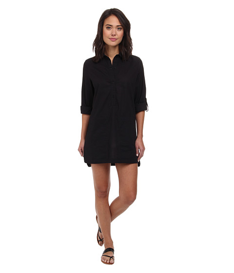 DKNY - Cover Ring Solids Shirt Cover-Up (Black) Women