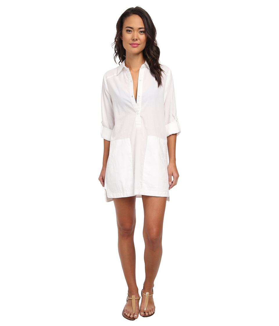DKNY - Cover Ring Solids Shirt Cover-Up (White) Women's Swimwear