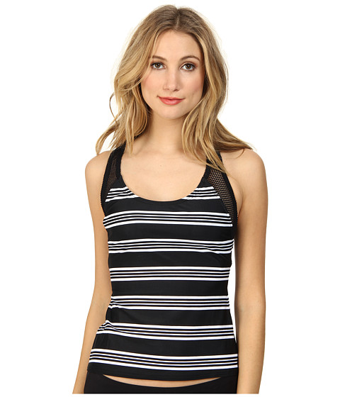 DKNY - Stripeology Mesh Racer Back Tankini Top (Black) Women's Swimwear