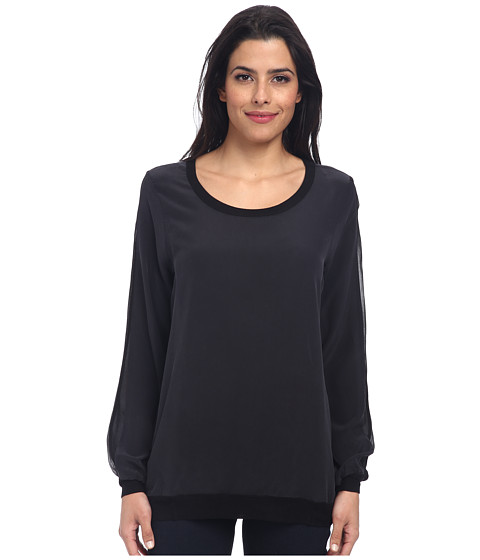 Chaser - L/S Panel Pullover (Black) Women's Long Sleeve Pullover