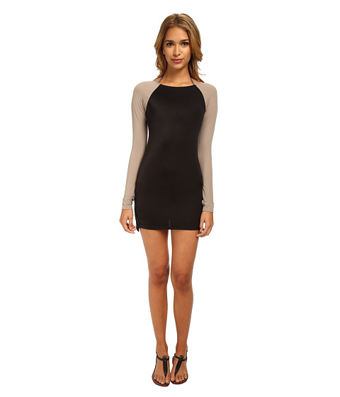 DKNY - Zipper Down Scuba Dress Cover-Up (Black) Women's Swimwear