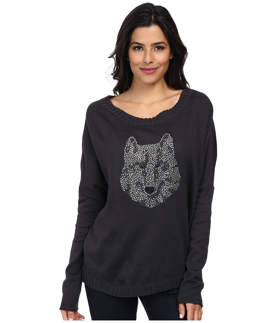 Chaser - Wolf L/S Dolman Pullover (Coal) Women