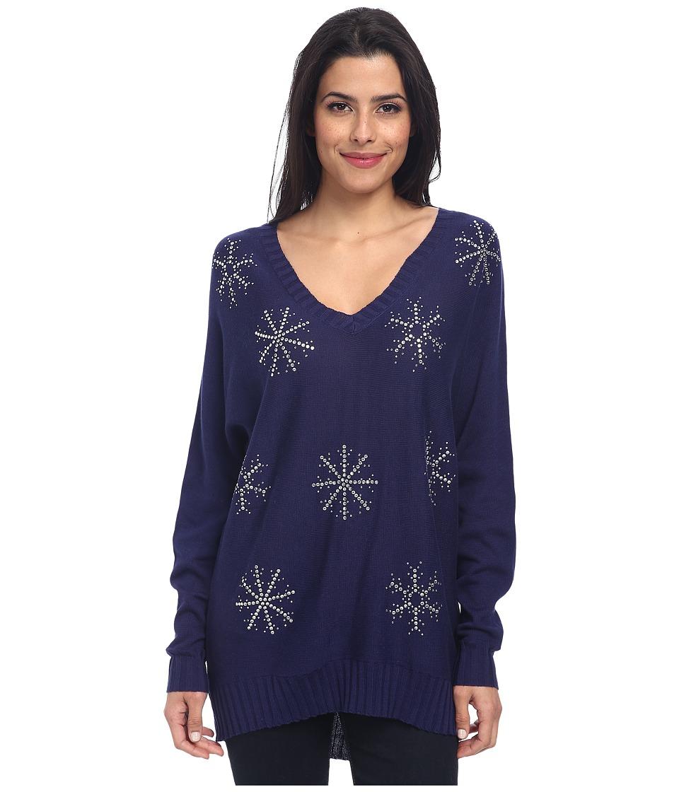 Chaser - Snowflake L/S V-Neck Dolman Pullover (Sailor) Women's Long Sleeve Pullover