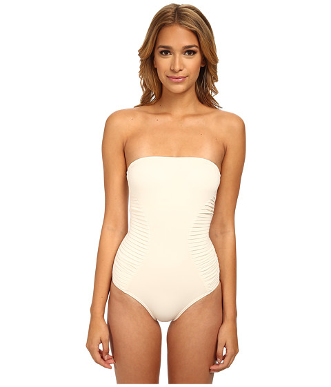 Vince Camuto - Key West Style Pleated Bandeau Maillot w/ Removable Soft Cups Strap (Pearl) Women's Swimsuits One Piece