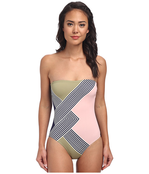 Vince Camuto - Deco Waves Bandeau Maillot w/ Removable Soft Cups Straps (Midnight) Women