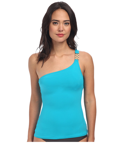 MICHAEL Michael Kors - Watch Band One Shoulder Tankini (Tile Blue) Women's Swimwear