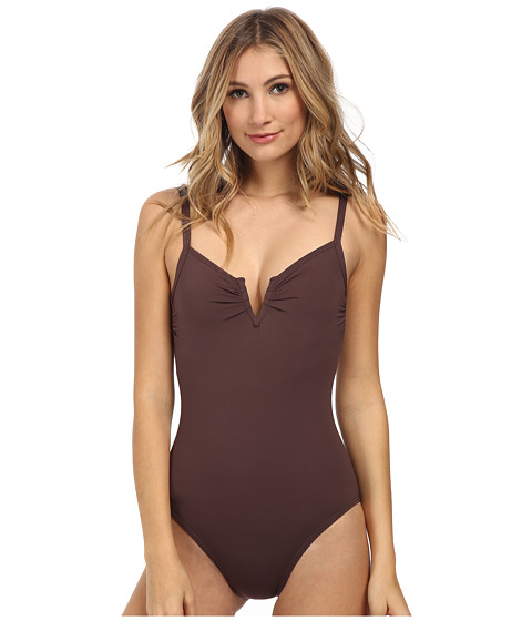 Vince Camuto - Ocean Drive 'V' Wire Maillot w/ Removable Soft Cups (Teak) Women's Swimsuits One Piece