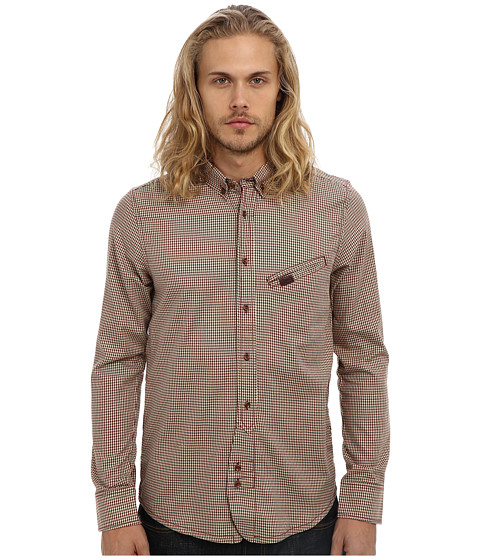 Marshall Artist - Trademan Shirt (Rust Check) Men's Long Sleeve Button Up