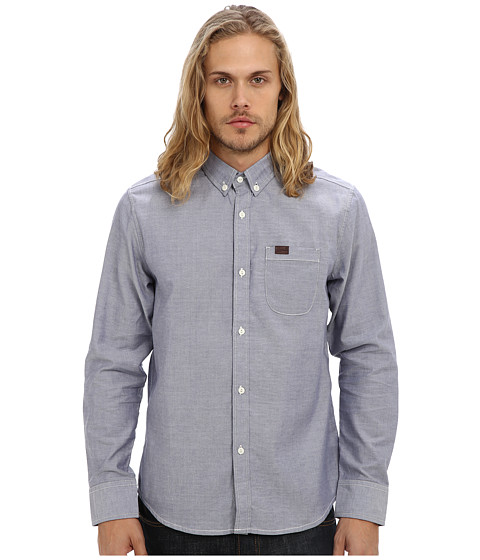 Marshall Artist - Yarn Dyed Oxford Shirt (Navy) Men's Long Sleeve Button Up
