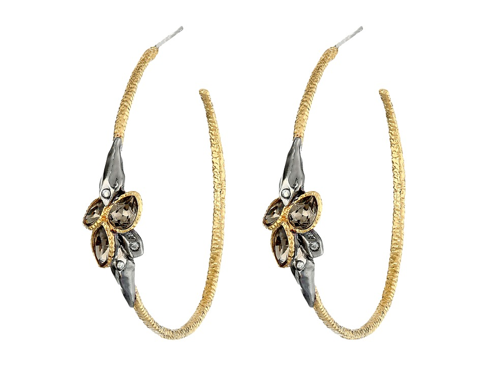 Alexis Bittar - Rocky Hoop With Crystal Cluster (Ruthenium/Gold) Earring