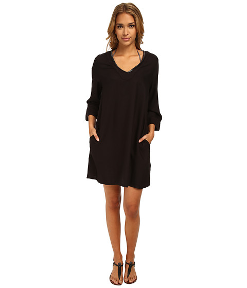 Vince Camuto - Collins Luxe Tunic Cover Up (Ebony) Women's Swimwear