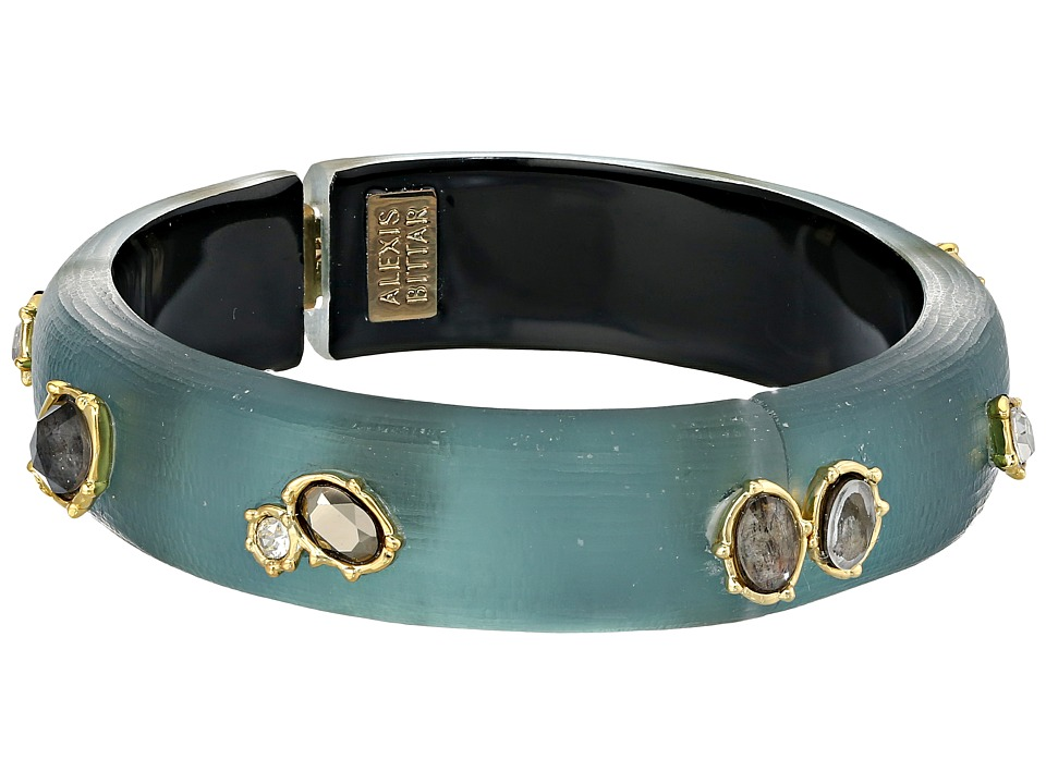 Alexis Bittar - Georgian Studded Hinge Bangle w/ Custom Black Moonstone Doublets (Teal Blue) Bracelet