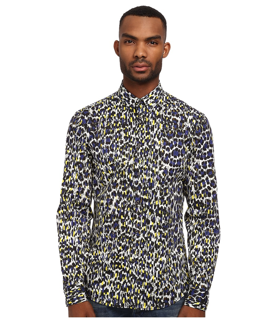 Just Cavalli - Painted Leopard Print Shirt (Blue Variant) Men's Long Sleeve Button Up