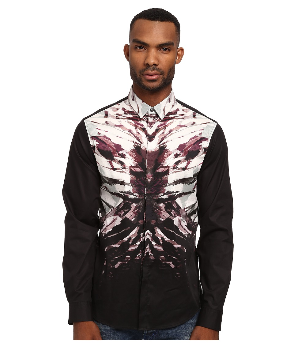 Just Cavalli - Night Vibe Placed Print Shirt (Black) Men's Long Sleeve Button Up