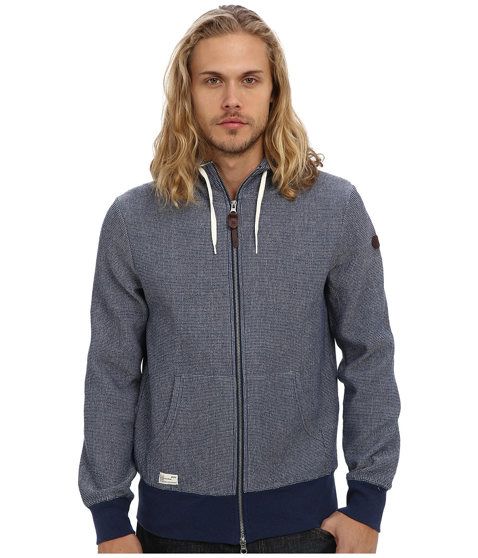 Marshall Artist - Indigo Zip Through Hoodie (Navy) Men's Sweatshirt