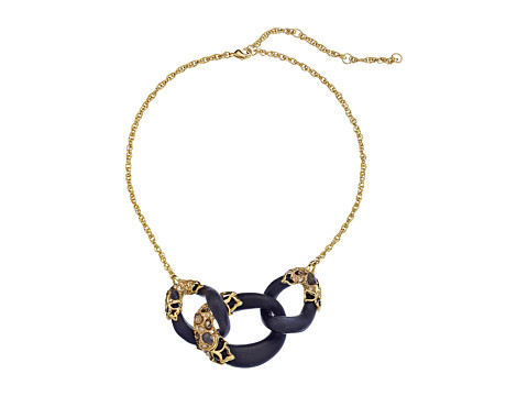 Alexis Bittar - Crystal Embellished Georgian Lace Link (Black) Necklace
