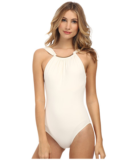 Vince Camuto - Crescent Resort High Neck Maillot w/ Removable Soft Cups (Pearl) Women