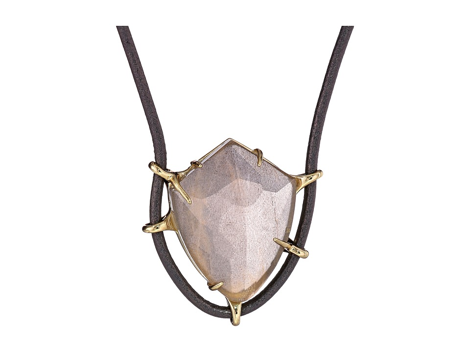Alexis Bittar - Leather Pendant w/ Fancy Black Moonstone and Crystal Glass Doublet (10K Gold) Necklace