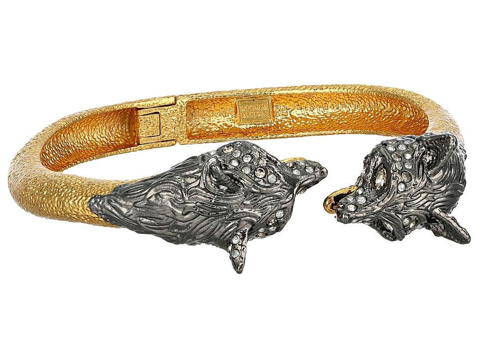 Alexis Bittar - Foxy Bypass Hinge w/ Crystal Embellishments (Ruthenium/Gold) Bracelet