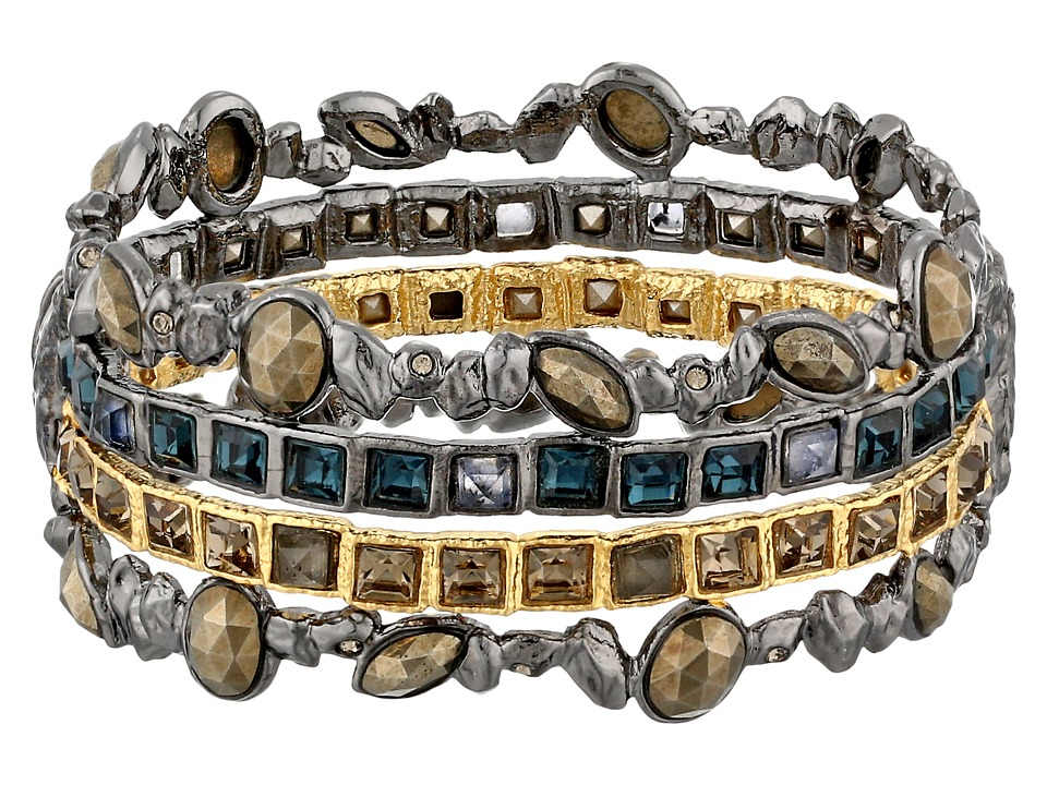 Alexis Bittar - Stacked Rocky Hinge w/ Rose Cut Pyrite (Ruthenium With Gold) Bracelet