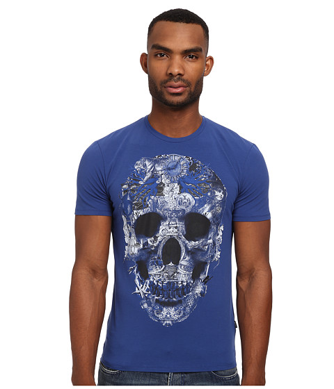 Just Cavalli - Skull Super Slim Crew Neck Tee (Blue Variant) Men's T Shirt