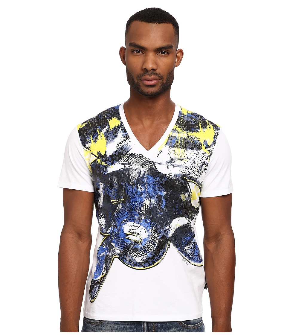 Just Cavalli - Painted Snake Crew Neck Tee (White) Men