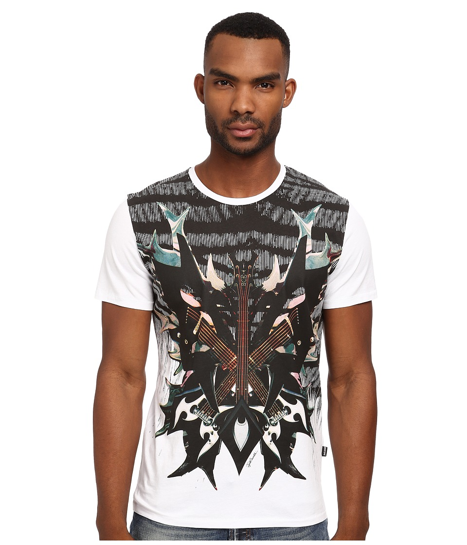 Just Cavalli - Zebra Guitar Crew Neck Tee (White) Men's T Shirt