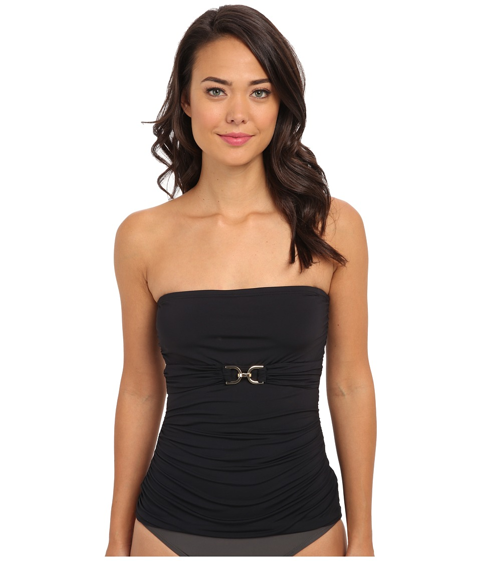 MICHAEL Michael Kors - Linked Solids Underwire Bandini (Black) Women's Swimwear