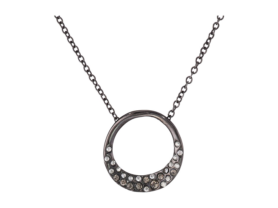 Alexis Bittar - Pave Encrusted Circle Pendant (Ruthenium) Necklace