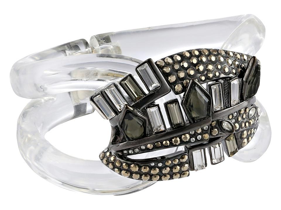 Alexis Bittar - Cubist Banded Hinged Bracelet (Clear) Bracelet