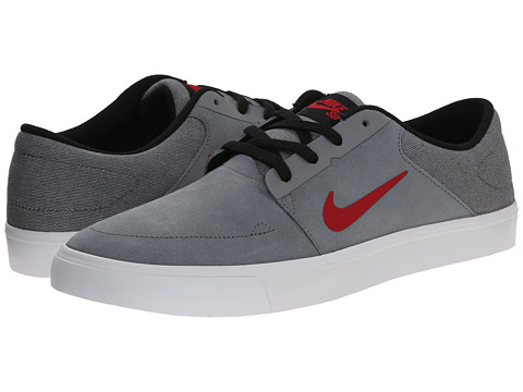 Nike SB - Portmore (Cool Grey/White/Black/Gym Red) Men's Skate Shoes