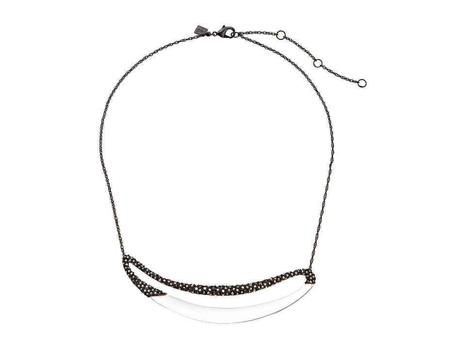 Alexis Bittar - Cubist Encrusted Elongated Link Necklace (Clear) Necklace