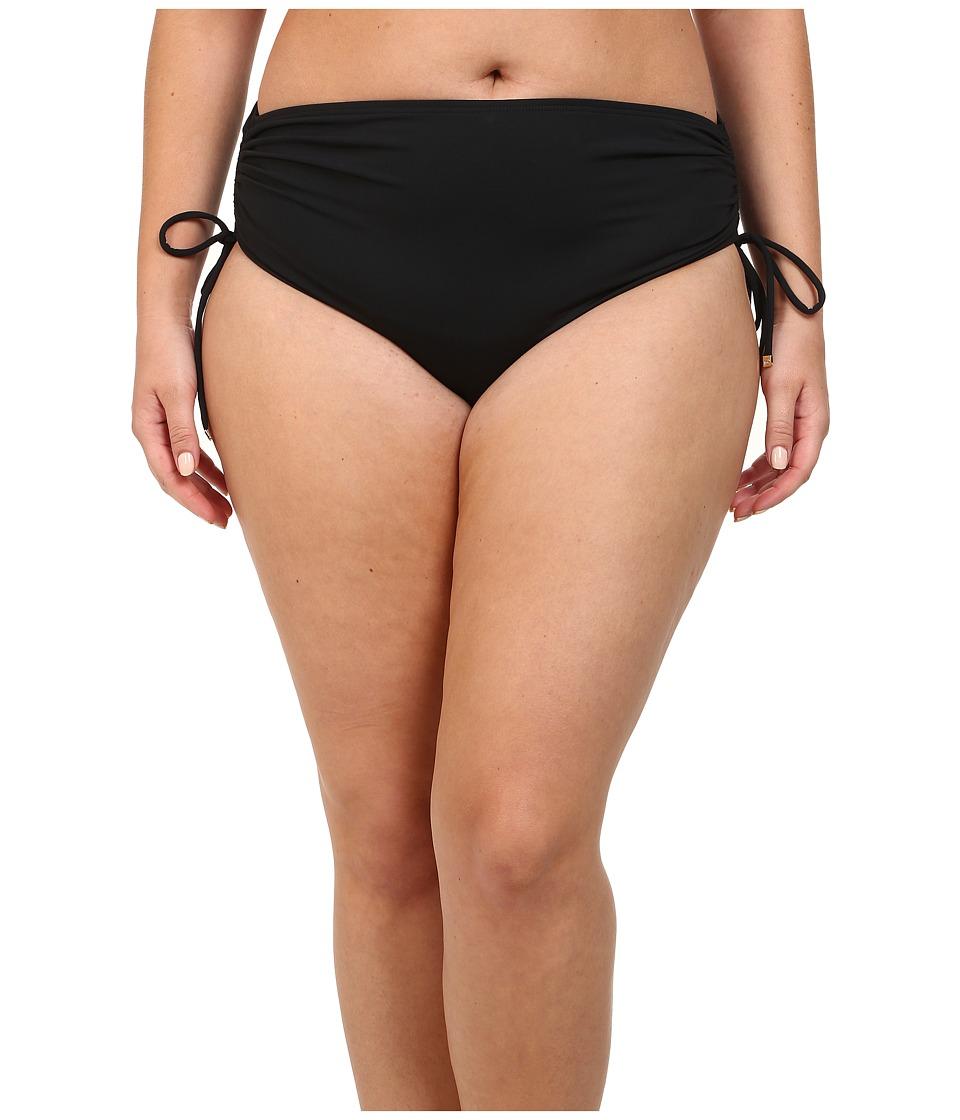MICHAEL Michael Kors - Plus Size Shirred Hipster Bottom (Black) Women's Swimwear plus size,  plus size fashion plus size appare