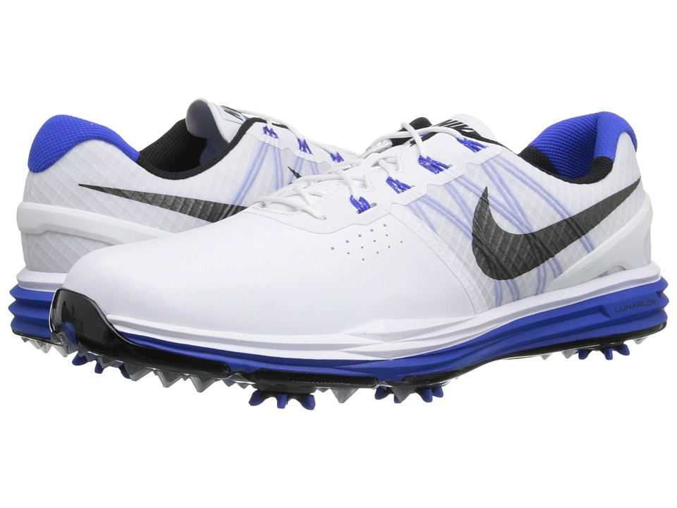 Nike Golf - Lunar Control 3 (White/Lyon Blue/Black) Men's Golf Shoes