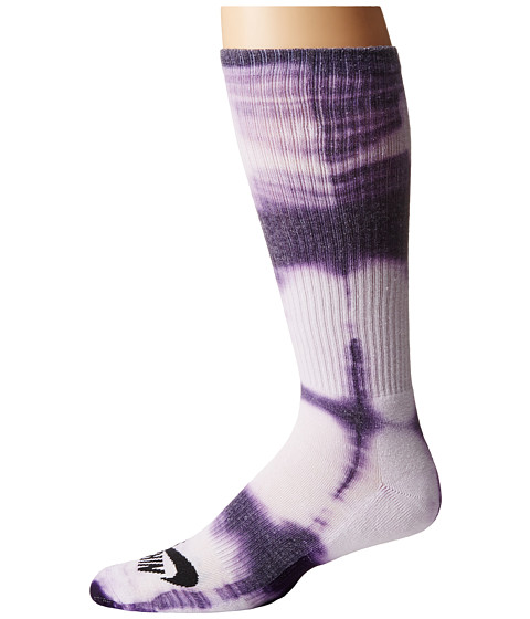 Nike SB - Tie-Dye Dri-Fit Skate Crew (White/Ink/Black) Crew Cut Socks Shoes