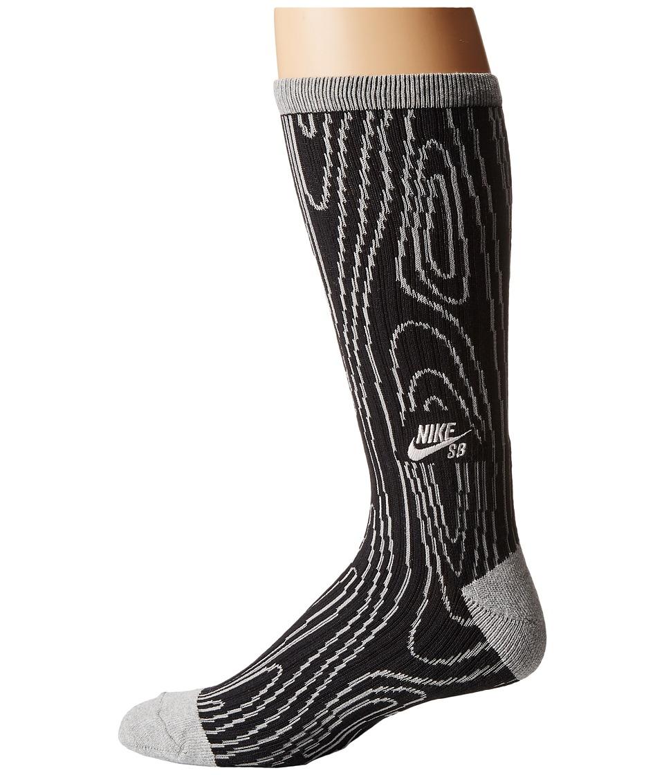 Nike SB - Dri-Fit Woodgrain Crew (Black/Grey Heather) Crew Cut Socks Shoes