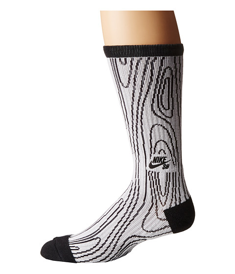 Nike SB - Dri-Fit Woodgrain Crew (White/Black) Crew Cut Socks Shoes