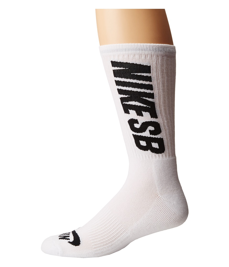 Nike SB - SB 3-Pack Crew Socks (White/Black) Men's Crew Cut Socks Shoes